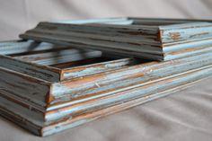 Shabby Chic Light Blue Frames  Set of 6 by ShabbyChicLife on Etsy, $48.00  Rustic primitive vintage !