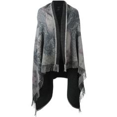 Etro paisley print cape ($645) ❤ liked on Polyvore featuring outerwear, grey, grey cape coat, wool capes, cape coat, etro and wool cape coat