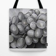 Grey Tone Grapes Tote Bag