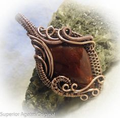 Carnelian Agate Wire Wrapped Antique Copper by superioragates, $45.00