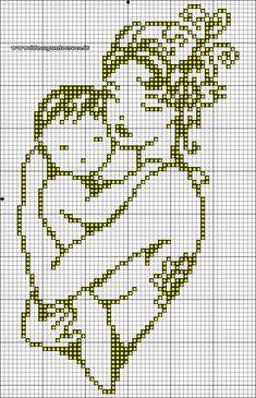 Schema punto croce mamma con bimbo monocolore seville, cross stitch baby, n Cross Stitch Numbers, Cross Stitch Letters, Cross Stitch Baby, Cross Stitch Charts, Crochet Motifs, Filet Crochet, Crochet Patterns, Beading Patterns, Embroidery Patterns