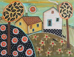 Two Cottages 11x14inch ORIGINAL CANVAS PAINTING  cat birds Folk Art Karla Gerard…