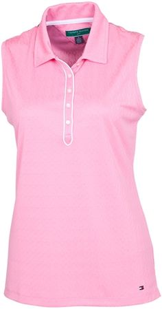 This lightweight Tommy Hilfiger Antonella Sleeveless Polo is designed with a diamond textured print | #Golf4Her #pink #golf