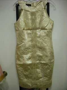 Vintage Style Gold Brocade Cocktail Dress with Gold lace detail