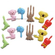 Japanese Bento Food Pick Animal 12 pcs - tree trunk pick: stick in a cucumber round to make a cute little tree :)