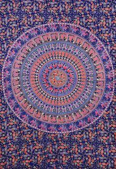 Mandala Tapestry, Indian Tapestry Wall Hanging, Hippie Hippy Tapestry, Bohemian Wall Hanging, Elephant Mandala Tapestries, Dorm Tapestries on Etsy, $19.99