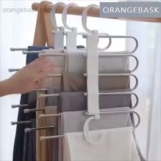 Multi-Functional Pants RacK Space Saving Design: The adjustable storage rack can be hung steadily with two hooks or it can be hung vertically, it can hold up to 5 pairs of pants at one time and it will make your closet tidier.