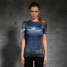 New Captain America Womens Tights Sports T Shirt  #tshirt #jersey #style
