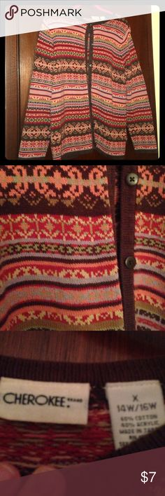 Cherokee brand colorful Nordic style knit cardigan Cherokee brand Nordic cardigan with so many colors it matches anything. Red, orange, brown, yellow, green, tan, and lavender colors. So warm and comfy cozy!! Great for cuddling up with a book at home or wearing to school during the upcoming cooler months. Super cute and classic style. Size X (0X) which is 14W/16W. Make an offer or bundle 2 or more items and save 10%! 💜 Cherokee Sweaters Cardigans