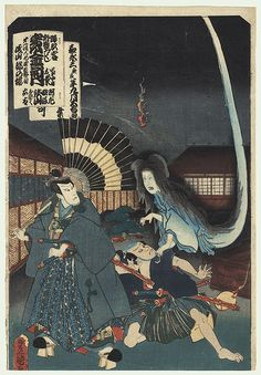 """Ghost of Okiku, 1857 - Fantastic scene from the kabuki play """"Minori yoshi kogane no kikuzuki,"""" based on the famous ghost story of Okiku and the Dish Mansion. The evil samurai Asayama Tetsuzan falsely accused the maid Okiku of losing one dish from a valuable ten-piece set. He orders his retainer Iwabuchi to torture her, dropping her into a well, trying to make her agree to his advances. If she accepts his proposition, the missing dish will be forgiven, but Okiku refuses and the pair…"""