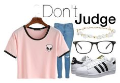 """Be who you are."" by bananaruth ❤ liked on Polyvore featuring Topshop, adidas Originals and Design Lab"