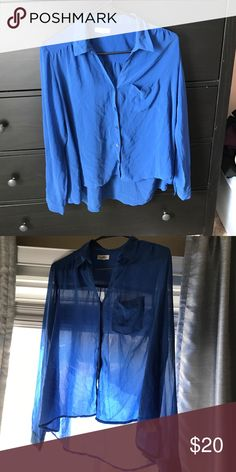 Urban Outfitters blue button down Sheer blue 100% Polyester-- silence+noise EUC Urban Outfitters Tops Button Down Shirts
