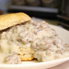 Easy Sausage Gravy and Biscuits.  I doubled the flour and milk because we prefer it this way. It looks good. seen this kind of thing on Man V Food so would love to try it!