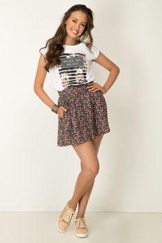 CAMISETA PRONTO ASHLEY Skater Skirt, Skirts, Tops, Women, Fashion, Block Prints, T Shirts, Moda, Skirt