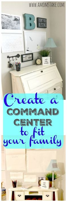 Try these 6 easy ideas to make a home command center that works for your family! Adapt the steps to fit your families needs and get organized. Your keys, paper pile and home organization will thank you! via @amomstake