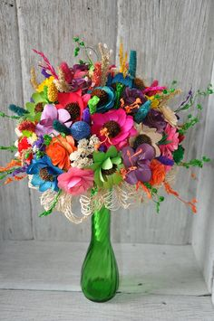Wooden rainbow flowers
