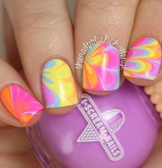 colourful, water marble nails