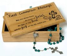 Great wooden keepsake box to store away all those First Communion gifts. $25.95