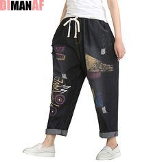 51cfa4ee2fb0 Plus Size Women Summer Harem Pants Elastic Wide Leg Pants Jeans Casual  Cotton Vintage Fashion Large Size Loose Retro Black Jeans