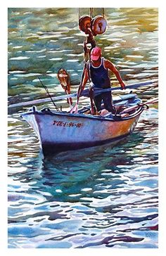 """Hoisting the boat by Graham Berry Watercolor ~ 19"""" x 12"""""""