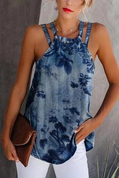 Casual Lace-Up Denim Vest Shirt Elegant Printed Double Strap Denim Vest Sexy Outfits, Stylish Outfits, Cool Outfits, Fashion Outfits, Amazing Outfits, Stylish Eve, Fashion Tips, Fashion Trends, Denim Fashion