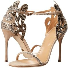 Sergio Rossi Matisse Strass Heel Women's Shoes, Bone ($583) ❤ liked on Polyvore featuring shoes, sandals, bone, leather shoes, sergio rossi sandals, ankle strap stilettos, leather sandals and high heels stilettos