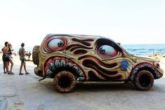 Vehicle Signage, Strange Cars, Beach Cars, Sidewalk Art, Pinstriping, Car Wrap, Weird And Wonderful, Art Festival, Public Art