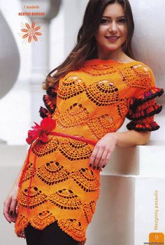 Crochet orange dress ♥LCD-MRS♥ with diagram ---Crochetemoda: Crochet - Vestido Laranja