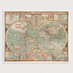 Old World Map Art Print 1626 Antique Map by BlueMonoclePrints