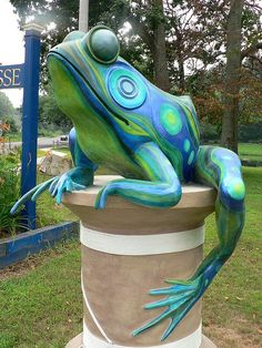 Frog statue in Windham, CT;  near a park on Storrs Road (Route 195);  photo by George Roch     ...although I think it is a real statue, not fiberglass...