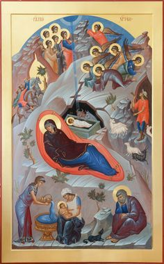 Γέννηση του Χριστού / Nativity of the Christ / the God-Man, the Savior of the world, was born in a cave that was used as a stable Byzantine Icons, Byzantine Art, Roman Church, Angel Images, Holy Mary, Albrecht Durer, Art Icon, Orthodox Icons, Angel Art
