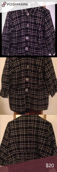"""🔻CJ Banks Blazer Black and white checkered CJ Banks blazer. Satin/silk lined. Only worn a few times...great shape!!!  Note: This is the same item marked as """"sold"""" in my closet; however, that sale fell through. Like this item to be notified of the upcoming price reduction and take advantage of discounted shipping! CJ Banks Jackets & Coats Blazers"""