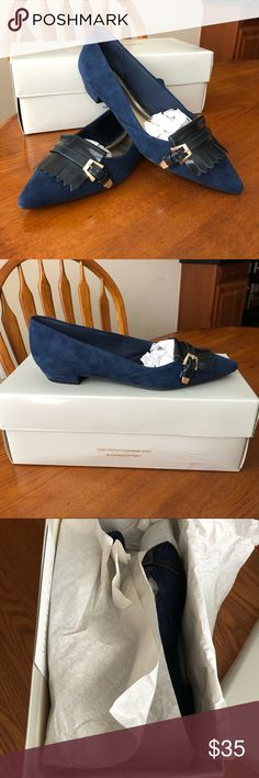 Marc Fisher Blue Suede Flats Marc Fisher Pointed Toe Suede Flats in Navy. Excellent Condition. Worn once. Beautiful Flats with cute gold buckle detail. A nice addition any wardrobe. Marc Fisher Shoes Flats & Loafers