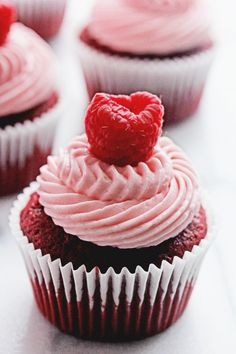 Red Velvet Raspberry Cupcakes via DelishDish.com