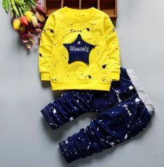 36dc05ff7586e New Arrival Baby Boy Clothing Set Star Letters Long Sleeve Top Long Pants  Kids Girls Graffiti Clothes Set