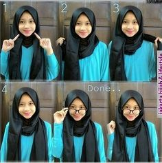 Discover recipes, home ideas, style inspiration and other ideas to try. Hijab Casual, Hijab Simple, Stylish Hijab, Hijab Chic, Ootd Hijab, Square Hijab Tutorial, Simple Hijab Tutorial, Pashmina Hijab Tutorial, Hijab Style Tutorial