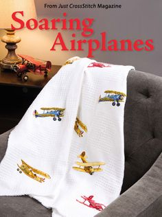 Soaring Airplanes from the May/Jun 2015 issue of Just CrossStitch Magazine. Order a digital copy here: https://www.anniescatalog.com/detail.html?prod_id=124191