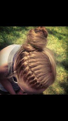 Side tight braid into bun