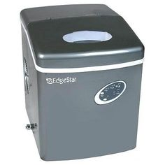 """Edgestar IP210TI Titanium Portable Ice Maker, Gray Portable unit - no drain required. Produces ice in as little as 10 minutes Produces up to 28 pounds of bullet shaped ice per day. Stores 2 1/2 pounds at one time Select 3 different ice cube sizes with soft touch control panel Compact size makes it ideal for kitchen counter tops, wet bars, break rooms and RV's Dimensions: 14 1/2"""" H x 11 3/4"""" W x 14 1/2"""" D"""