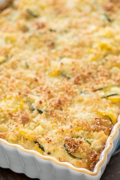 Zucchini, Squash & Corn Casserole - our favorite side dish! Use the pepper Zucchini Squash Casserole, Yellow Squash Casserole, Vegetable Casserole, Corn Casserole, Casserole Recipes, Casserole Dishes, Side Recipes, Vegetable Recipes, Vegetarian Recipes