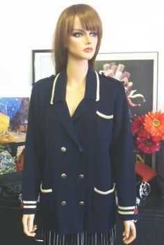 Carole Little Sweater M Navy Gold Red Star Designer Fashion Nautical Women Hip  | eBay
