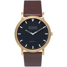 Shore Projects Unisex St Ives Gold Plated Leather Strap Watch , Dark... ($82) ❤ liked on Polyvore featuring jewelry, watches, dark brown, shore projects, unisex jewelry, water resistant watches, unisex watches and black dial watches