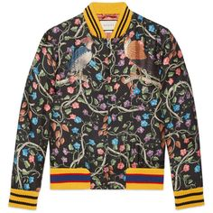 Gucci Birds Of Prey Silk Bomber (€1.610) ❤ liked on Polyvore featuring men's fashion, men's clothing, men's outerwear, men's jackets, men, outerwear, ready to wear, mens bomber jacket, mens leopard print jacket and gucci mens jacket