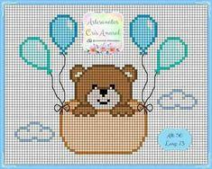 Oso con globos Baby Cross Stitch Patterns, Cross Stitch Charts, Cross Stitch Designs, Mini Cross Stitch, Cross Stitch Flowers, Modern Cross Stitch, Cross Stitching, Cross Stitch Embroidery, Embroidery Patterns