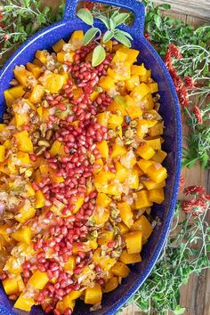 Butternut Squash With Roasted Pistachios And Pomegranate