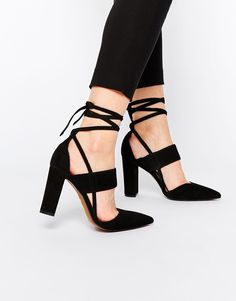 Image 1 of Whistles Black Suede Ankle Tie Heeled Shoes