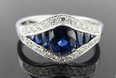 Ferro Jewelers - Estate Jewelry | 18kw .26cttw Sapphire and Diamond Ring