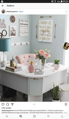 home office organization & home office . home office ideas . home office decor . home office design . home office organization . home office ideas for women . home office space . home office ideas on a budget Home Office Space, Office Workspace, Home Office Design, Office Designs, Apartment Office, Office Setup, Small Office Desk, Office Inspo, Organized Office