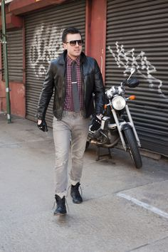 Still kinda the gold standard for leather jackets, I think. Not necessarily with the wrist buckles, but the cut and the collar and the all-round simplicity. Hard to improve on. Style Guides, Hipster, Leather Jackets, American, Men, Fashion, Clothing, Moda, Hipsters