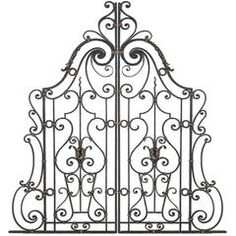 Pair of Hand-Forged Iron Gates or Partitions Double Sided with Gilt Detail